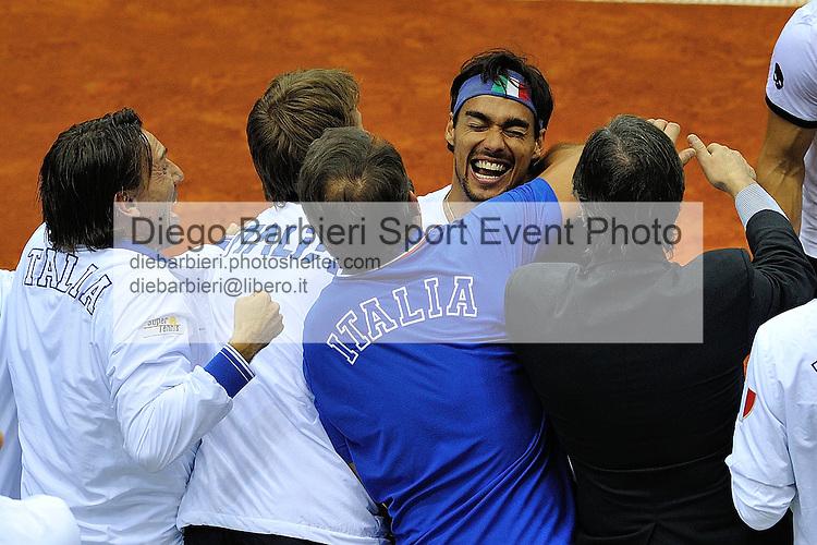 (KIKA) - TORINO - 02/02/2013 - Coppa Davis Italia - Croazia, Primo Turno Gruppo Mondiale. Simone BOLELLI e Fabio FOGNINI vs. Marin CILIC e Ivan DODIG, terzo incontro di Coppa Davis al Palavela di Torino, il 2 febbraio 2013. L'Italia batte la Croazia al tie break per 3-6 6-1 6-3 7-6(11)