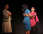 """Leslie Malaika Lewis, Immaculee Ilibagiza and Malaika Uwamahoro on stage during """"Miracle in Rwanda"""" honoring International Day of Reflection on the 1994 Genocide against the Tutsi in Rwanda at the Lion Theatre on Theater Row on April 7, 2019 in New York City."""