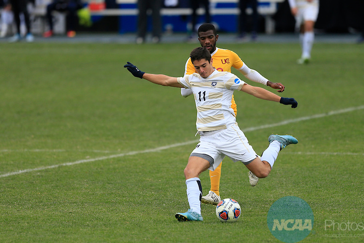 KANSAS CITY, MO - DECEMBER 03:  Jon Ander (11) of Wingate University shoots against the University of Charleston during the Division II Men's Soccer Championship held at Children's Mercy Victory Field at Swope Soccer Village on December 03, 2016 in Kansas City, Missouri. Wingate beat Charleston 2-0 to win the National Championship. (Photo by Jack Dempsey/NCAA Photos via Getty Images)