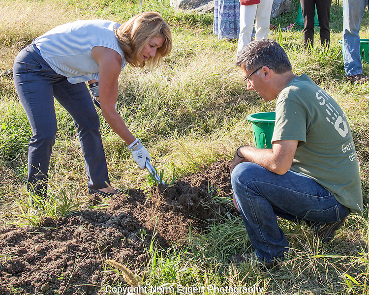 Governor Charlie Baker and Lt. Governor Polito of Massachusetts visits the  Community Harvest Project in North Grafton, a farm which provides food to the Worcester Food Bank
