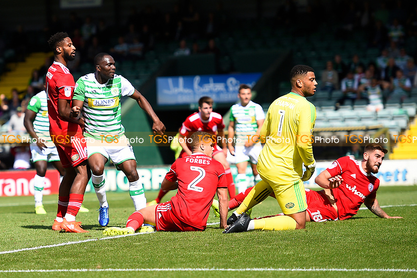All eyes on the ball as the shot from Francois Zoko of Yeovil Town left hits the net during Yeovil Town vs Accrington Stanley, Sky Bet EFL League 2 Football at Huish Park on 12th August 2017
