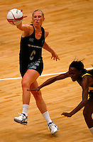 17.1.2014 New Zealand's Laura Langman competes for ball with Jamaica's Paula Thompson during their netball test match in London, England. Mandatory Photo Credit (Pic: Tim Hales). ©Michael Bradley Photography.