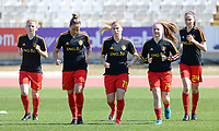 20180228 - LARNACA , CYPRUS :  Belgian Charlotte Tison (left) , Maud Coutereels , Jana Coryn , Davinia Vanmechelen and Silke Vanwynsberghe (r) pictured during warming up of the women's soccer game between The Belgian Red Flames and the Czech Republic , on wednesday 28 February 2018 at GSZ Stadium in Larnaca , Cyprus . This is the first game in group B for Belgium during the Cyprus Womens Cup , a prestigious women soccer tournament as a preparation on the World Cup 2019 qualification duels. PHOTO SPORTPIX.BE | DAVID CATRY