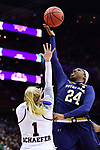 COLUMBUS, OH - APRIL 1: Arike Ogunbowale #24 of the Notre Dame Fighting Irish shoots over Blair Schaefer #1 of the Mississippi State Bulldogs during the championship game of the 2018 NCAA Division I Women's Basketball Final Four at Nationwide Arena in Columbus, Ohio. (Photo by Ben Solomon/NCAA Photos via Getty Images)