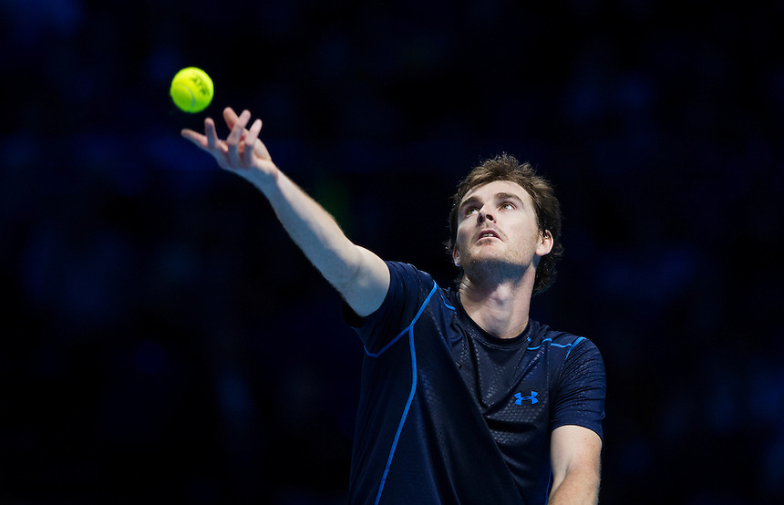 Jamie Murray (GB) with partner John Peers (Aus) in action during today's match v Simone Bolelli (Ita) / Fabio Fognini (Ita)<br /> <br /> Photographer Ashley Western/CameraSport<br /> <br /> International Tennis - Barclays ATP World Tour Finals - O2 Arena - London - Day 1 - Sunday 15th November 2015<br /> <br /> &copy; CameraSport - 43 Linden Ave. Countesthorpe. Leicester. England. LE8 5PG - Tel: +44 (0) 116 277 4147 - admin@camerasport.com - www.camerasport.com