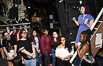 "Gabby Sorrentino and Holli Campbell with students during the Q & A before The Rockefeller Foundation and The Gilder Lehrman Institute of American History sponsored High School student #EduHam matinee performance of ""Hamilton"" at the Richard Rodgers Theatre on 5/22/2019 in New York City."