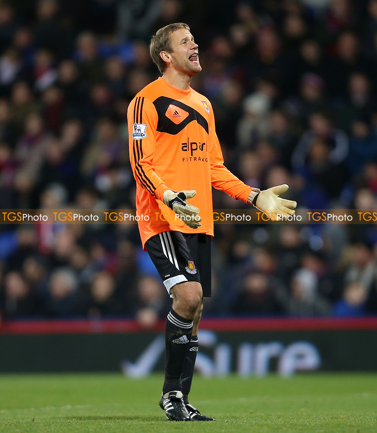 Frustration for Jussi Jaaskelainen of West Ham - Crystal Palace vs West Ham United, Barclays Premier League at Selhurst Park, Crystal Palace - 03/12/13 - MANDATORY CREDIT: Rob Newell/TGSPHOTO - Self billing applies where appropriate - 0845 094 6026 - contact@tgsphoto.co.uk - NO UNPAID USE