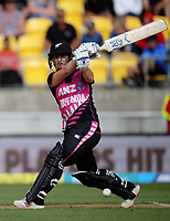 NZ's Katey Martin bats during the international women's Twenty20 cricket match between the NZ White Ferns and India at Westpac Stadium in Wellington, New Zealand on Wednesday, 6 February 2019. Photo: Dave Lintott / lintottphoto.co.nz
