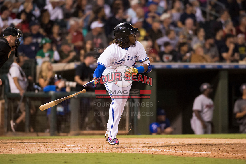 AFL West third baseman Vladimir Guerrero Jr. (27), of the Surprise Saguaros and Toronto Blue Jays organization, runs to first base during the Fall Stars game at Surprise Stadium on November 3, 2018 in Surprise, Arizona. The AFL West defeated the AFL East 7-6 . (Zachary Lucy/Four Seam Images)