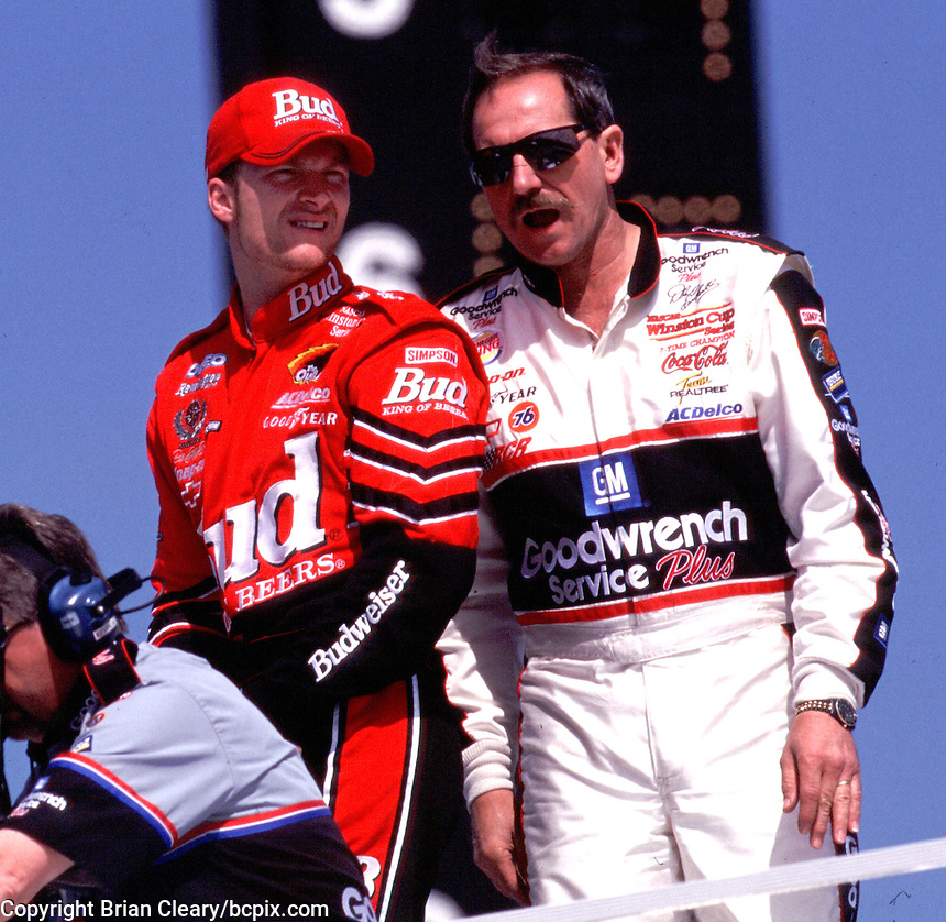 Dale Earnhardt and Dale Earnhardt Jr. watch Darlington practice together in March 2000.(Photo by Brian Cleary/www.bcpix.com)