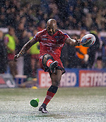 22nd March 2018, Select Security Stadium, Widnes, England; Betfred Super League rugby, Widness Vikings versus Salford Red Devils; Robert Lui kicks for a penalty in driving snow