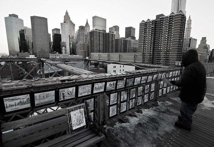 Selling the Brooklyn Bridge - A Street Vendor Selling His Drawings of NYC and the Brooklyn Bridge on the Brooklyn Bridge