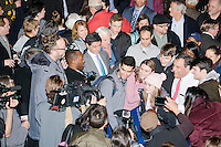 Republican presidential candidate and New Jersey governor Chris Christie greets people after speaking at his final New Hampshire town hall of the primary election at the St. George Greek Orthodox Cathedral in Manchester, New Hampshire, on Mon., Feb., 8, 2016.