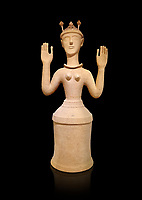 "Minoan Postpalatial terracotta  ""Poppy goddess: statue with raised arms and poppy seed crown,  Karphi Sanctuary 1300-1200 BC, Heraklion Archaeological Museum, black background. <br /> <br /> The ""Poppy Goddess"" statuye is crowned with opium poppy seed heads. As opium is a hallucinogen that also sedates and has healing properties, experts assume this was the goddess of pain relief and healing/ During this period both Minoan and Mycenaean graves were found in Karphi snctuary so these cult gods are attributable to both cultures"