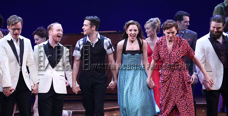 Corey Cott, Laura Osnes, Beth Leavel and cast during the Broadway Opening Night Curtain Call Bows of 'Bandstand' at the Bernard B. Jacobs Theatre on 4/26/2017 in New York City.