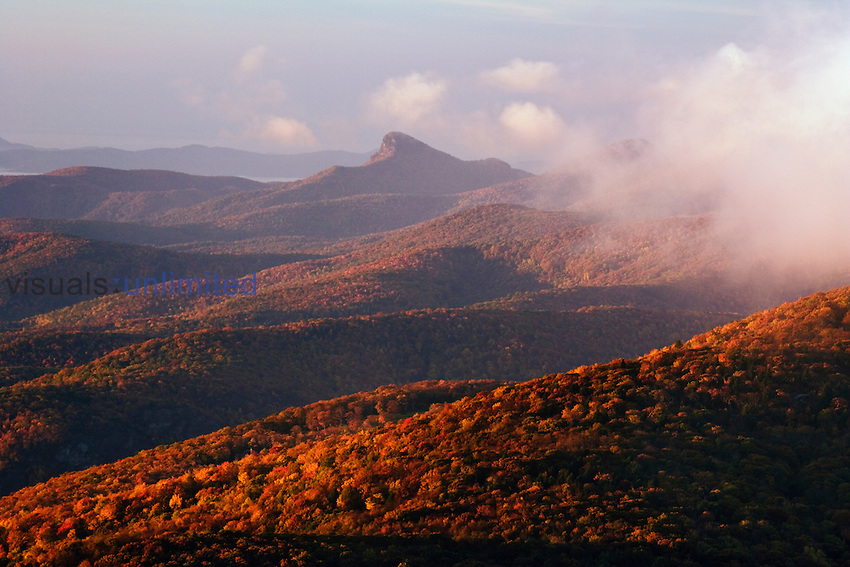 Mountain mist in the Southern Appalachian Mountains at sunrise seen from Grandfather Mountain, North Carolina, USA.