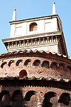 Looking up at the Rotonda di S. Lorenzo, a little church built in 1083 on the Piazza Erbe in Mantua, Italy.