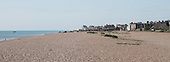 Looking along the beach to Aldeburgh, Suffolk, where a famous annual music festival is held to celebrate Benjamin Britten's wordk.