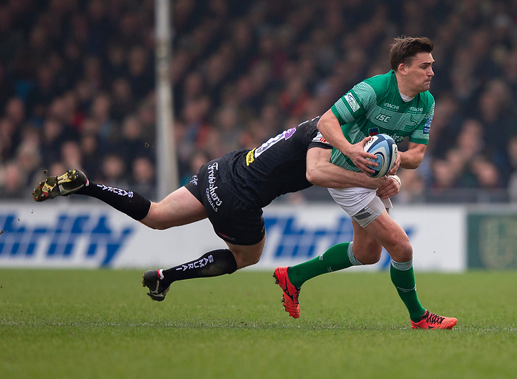 Newcastle Falcons' Toby Flood in action during todays match<br /> <br /> Photographer Bob Bradford/CameraSport<br /> <br /> Gallagher Premiership - Exeter Chiefs v Newcastle Falcons - Saturday 23rd February 2019 - Sandy Park - Exeter<br /> <br /> World Copyright © 2019 CameraSport. All rights reserved. 43 Linden Ave. Countesthorpe. Leicester. England. LE8 5PG - Tel: +44 (0) 116 277 4147 - admin@camerasport.com - www.camerasport.com