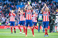 Atletico de Madrid Saul Niguez and Koke Resurreccion during La Liga match between Real Madrid and Atletico de Madrid at Santiago Bernabeu Stadium in Madrid, Spain. April 08, 2018. (ALTERPHOTOS/Borja B.Hojas) /NortePhoto NORTEPHOTOMEXICO