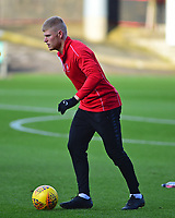 Lincoln City's Elliott Whitehouse during the pre-match warm-up<br /> <br /> Photographer Andrew Vaughan/CameraSport<br /> <br /> The EFL Sky Bet League Two - Crewe Alexandra v Lincoln City - Saturday 11th November 2017 - Alexandra Stadium - Crewe<br /> <br /> World Copyright &copy; 2017 CameraSport. All rights reserved. 43 Linden Ave. Countesthorpe. Leicester. England. LE8 5PG - Tel: +44 (0) 116 277 4147 - admin@camerasport.com - www.camerasport.com