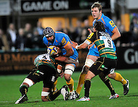 Aviva Premiership. Northampton, England. Marco Wentzel (Captain ) of London Wasps tackled during the Aviva Premiership match between Northampton Saints and London Wasps at Franklin's Gardens on September 28. 2012 in Northampton, England.