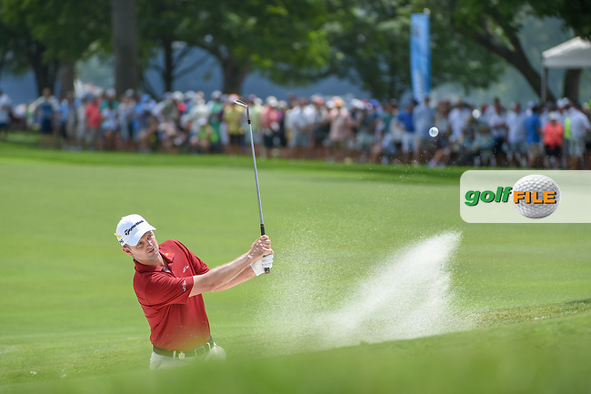 Justin Rose (GBR) hits from the trap on 1 during 1st round of the 100th PGA Championship at Bellerive Country Club, St. Louis, Missouri. 8/9/2018.<br /> Picture: Golffile | Ken Murray<br /> <br /> All photo usage must carry mandatory copyright credit (© Golffile | Ken Murray)