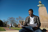 Student candids: Justin Major studying on Drill Field.  <br />  (photo by Megan Bean / &copy; Mississippi State University)