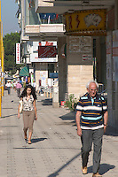 Street scene with people walking on the street. Tirana capital. Albania, Balkan, Europe.