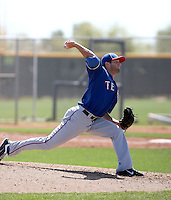 Tyler Tufts of the Texas Rangers  plays in a minor league spring training game against the Kansas City Royals at the Rangers complex on March 22, 2011  in Surprise, Arizona. .Photo by:  Bill Mitchell/Four Seam Images.