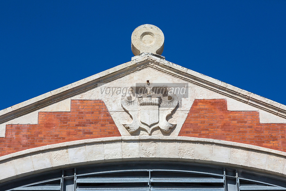 France, Aquitaine, Pyrénées-Atlantiques, Pays Basque, Biarritz:  Les Halles de Biarritz , Fronton des halles  //  France, Pyrenees Atlantiques, Basque Country, Biarritz: Biarritz Market-house pediment