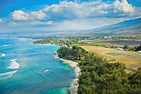 An aerial view of Oahu's North Shore across from Dillingham Airfield.