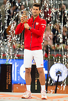 Serbian Novak Djokovic with the championship awards during  TPA Finals Mutua Madrid Open Tennis 2016 in Madrid, May 08, 2016. (ALTERPHOTOS/BorjaB.Hojas) /NortePhoto.com