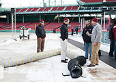 ?, John Hegarty (BC - Director-HockeyOps), John Cormier (BC - Ice Crew), Norm Reid (BC - Supervisor-Athletic Maintenance) - BC set up a tube beneath the bench to better distribute the heated air that otherwise would all pump through one hole in the wall.