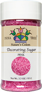 10257 Nature's Colors natural Pink Decorating Sugar, Small Jar 3.3 oz, India Tree Storefront