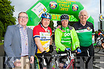 Killarney Mayor Bobby O'Connell, Minister Jimmy Deenihan, Jim Moloney Listowel and Cathal Walsh race organisor at the start of the Ring of Kerry cycle in Killarney on Saturday morning