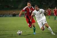 Hungary's Krisztian Nemeth (9) battles Italy's Marco Calderoni (6) during the FIFA Under 20 World Cup Quarter-final match at the Mubarak Stadium  in Suez, Egypt, on October 09, 2009. Hungary won 2-3 in overtime.