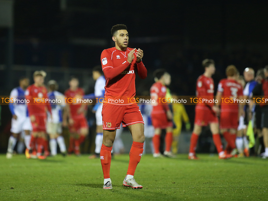 MK Dons Daniel Powell applauds the away fans at the end of the match during Bristol Rovers vs MK Dons, Sky Bet EFL League 1 Football at the Memorial Stadium on 19th November 2016