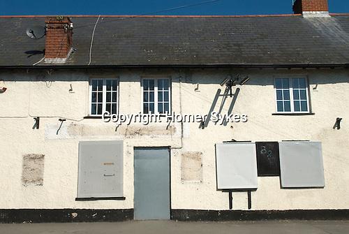 Royal Huntsman public house Wiliton Somerset Uk. Quantocks. Village pub closed down out of business.