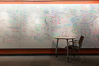 BioChem Final review material on the whiteboard outside the planetarium in the ConocoPhillips Integrated Science Building.