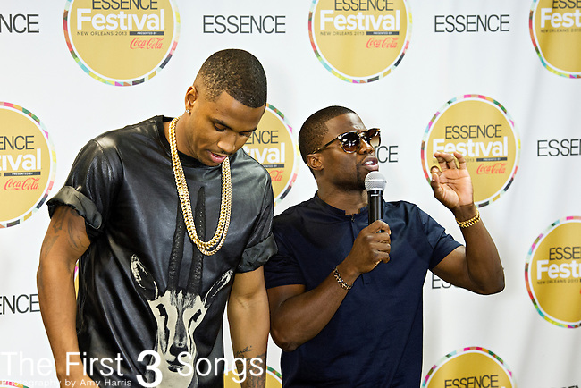 Trey Songz (born Tremaine Neverson) and Kevin Hart speak with media at the 2013 Essence Festival at the Mercedes-Benz Superdome in New Orleans, Louisiana.