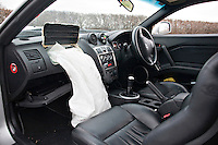 Deployed airbags in a car after a road traffic accident..©shoutpictures.com..john@shoutpictures.com