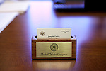 Detail of business cards for freshman  Congressman, United States Representative Joaquin Castro from San Antonio, Texas at his office in the Cannon Building in Washington, DC on July 24, 2013. CREDIT: Lance Rosenfield/Prime