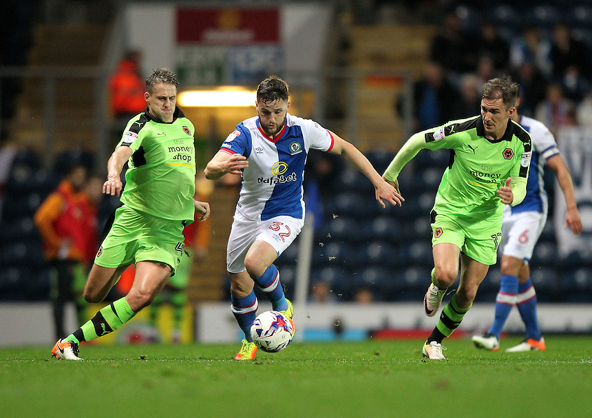 Blackburn Rovers Craig Conway is chased by Wolverhampton Wanderers David Edwards<br /> <br /> Photographer Mick Walker/CameraSport<br /> <br /> The EFL Sky Bet Championship - Blackburn Rovers v Wolverhampton Wanderers - Saturday 29th October 2016 - Ewood Park - Blackburn<br /> <br /> World Copyright &copy; 2016 CameraSport. All rights reserved. 43 Linden Ave. Countesthorpe. Leicester. England. LE8 5PG - Tel: +44 (0) 116 277 4147 - admin@camerasport.com - www.camerasport.com