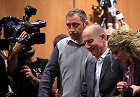 Raniero Busco, affiancato dal fratello Paolo, a sinistra, e dalla moglie Roberta Milletari', gioisce durante la lettura della sentenza che lo assolve dall'accusa per il delitto di Via Poma, al termine del processo presso la Corte d'Appello di Roma, 27 aprile 2012..UPDATE IMAGES PRESS/Riccardo De Luca