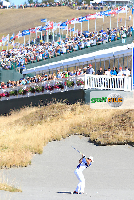 Rory MCILROY (NIR) plays his 2nd shot from the sand on the 18th hole during Sunday's Final Round of the 2015 U.S. Open 115th National Championship held at Chambers Bay, Seattle, Washington, USA. 6/21/2015.<br /> Picture: Golffile | Eoin Clarke<br /> <br /> <br /> <br /> <br /> All photo usage must carry mandatory copyright credit (&copy; Golffile | Eoin Clarke)
