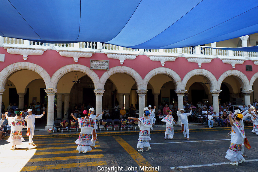 Traditional Yucatecan dancers performing in front of the city hall in Merida, Yucatan, Mexico...