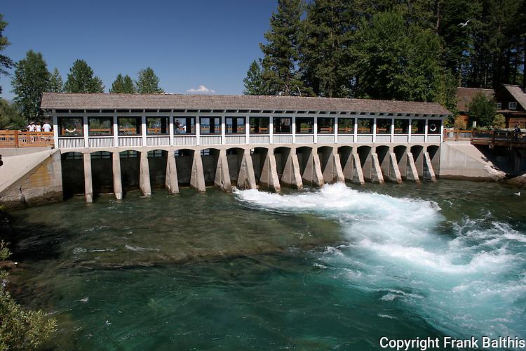 Truckee River dam in Tahoe City