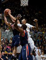 Richard Solomon of California fights for the ball against Nikolas Skouen of Pepperdine during the game at Haas Pavilion in Berkeley, California on November 13th, 2012.  California defeated Pepperdine, 79-62.