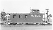 Long caboose #0503.<br /> D&amp;RGW  Alamosa, CO  Taken by Maxwell, John W. - 6/25/1951